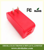 Folding Us Plug Dual USB Mobile Phone Charger Adapter with 5V 2.1+1A Output USB Travel Charger