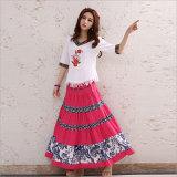 Cotton Apparel Striped Pleated Elastic Waist Long Skirt of Ethnic Styel