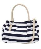 2016 New Stripe Canvas Fashion Women Bowling Tote Handbag