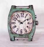 Distressed Watch Look Metal Wall Clock