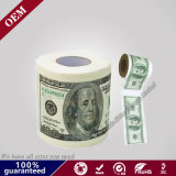 2ply One Hundred Dollar &500 Euro Print Toilet Paper Roll, Custom Print Paper