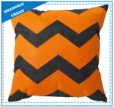 Orange Gray Printed Polyester Filled Cushion