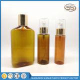 Square Round Plastic Bottle Amber Color Golden Pump