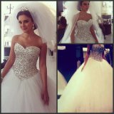 Luxury Crystal Bridal Ball Gown Strapless Silver Beading Tulle Puffy Wedding Dress G1799