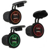 12V-24V Dual USB Charger Socket Power Outlet Motorcycle Marine Car New