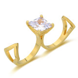 Latest Creative Jewelry 18K Gold CZ Two Finger Ring