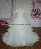 See Through Beaded Lace Princess Puffy Wedding Dress