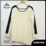 Women Leather Shoulder Patch Asymmetric Hem Sweater