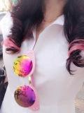 Classic Round Lens Design Woman Acetate Sunglasses