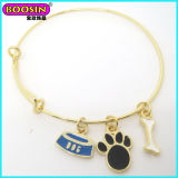 Fashionable Custom Metal Gold Enamel Dog Themed Bangle