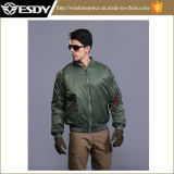 Army Green American Bomber Jacket Windproof Men′s Warm Coat