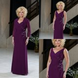 Chiffon Lace Mother of The Bride Dress Purple Beads Formal Evening Dresses B1411
