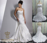 New Collection Ball Gown Long Train Satin Wedding Dresses 2015