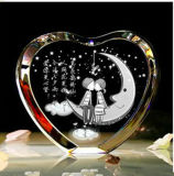 3D Laser Engraving Heart Shaped Crystal Craft