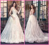 Lace Backless Bridal Gowns Sheer V-Neck Sleeves Wedding Dress Z2064