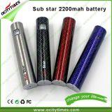 New EGO 2200mAh Battery/Sub Ohm Vape Pen/Sub Star Battery with Passthrough Pin
