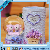 OEM Resin Snow Globe Lovely Bear Inside Pen Holder