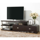 Dark Brown Modern TV Stand with Drawers and Shelves (TVS14)