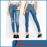 Dark Blue Trendy Skinny Knee Broken Women Tight Jeans (JC1343)