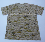 Knitted Desert Digital Camouflage T-Shirt with Same Color Neck