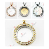 High Quality 30mm Crystal Round Lockets Charms Pendant Necklace (FC72)