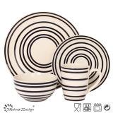Ceramic Stoneware Black Strip 16PCS Dinner Set