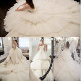 Strapless Bridal Ball Gowns Puffy Tiered Tulle Lace Wedding Dresses Dz54