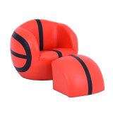 Black & Red PVC Basketball Shape Kids Sofa (SXBB-27)