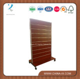 Double Sided Wooden Slatwall Display Shelf with Castors