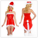 Women Girl Sexy Clubwear Red Christmas Costume Dress