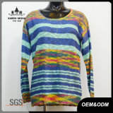Women Colored Striped Long Sleeve Sweater