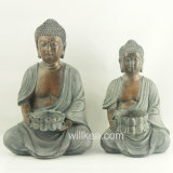 Cheap Tabletop Decorative Resin Buddha Statues with Candle Holder