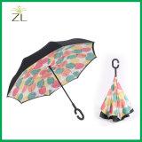 Custom Printing C Handle Double Layer Fashion Reverse Umbrella