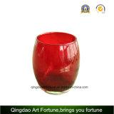 Red Color Printed Egg Shaped Glass Votive Candle Holder