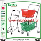 Metal Frame Double Basket Mini Shopping Cart for Convenience Store