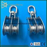 Stainless Steel Double Wheel Eye Swivel Pulley Block