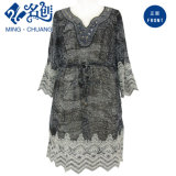 Women Fashion Beading Dress with White Lace