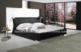 Fashion Double Bed Modern Bedroom Furniture King Size Leather Bed (HC009)