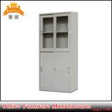 Upper Glass Lower Steel Sliding Door Storage Cabinet