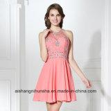 Halter Backless Zipper Chiffon Sequins Crystal Prom Dress