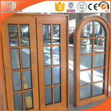 Ultra Large Special Shape Wood Window with Grille Design, Grille Round-Top Casement Window Solid Pine Wood Larch Wood Window