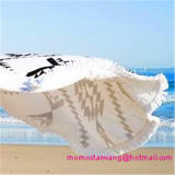 100% Cotton Round Circle Printed Beach Blanket with Top-Quality