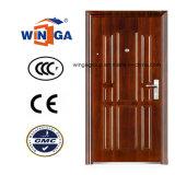 Polish Brown Color Entrance Security Metal Steel Door (W-S-124)