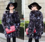New Woman Winter Warm Natural Silver Fox Fur Coat Ladies Real Fur Overcoat Women′s Fashion Long Sleeve Genuine Fur Clothes