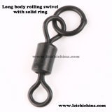 Carp Fishing Terminal Tackle Long Body Rolling Swivel with Solid Ring