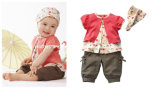 Cute Baby Suit: Pink Top + Brown Short Pants + Headband/ Baby Wear