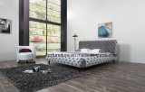 Nordic Modern Tufted Leather Bed for Bedroom