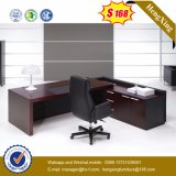 Mahogany Color Leather Upholstery Table Top Glossy Office Desk (HX-G0195)
