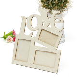 Hollow Love Wooden Rahmen White Base Photo Frame