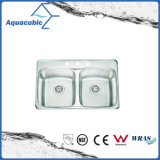 High Quality Double-Bowl Stainless Steel Kitchen Sink (ACS7952M)